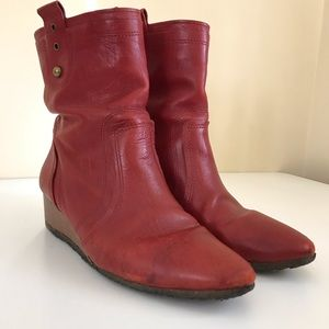 Frye Red Leather Wedge Ankle Boots